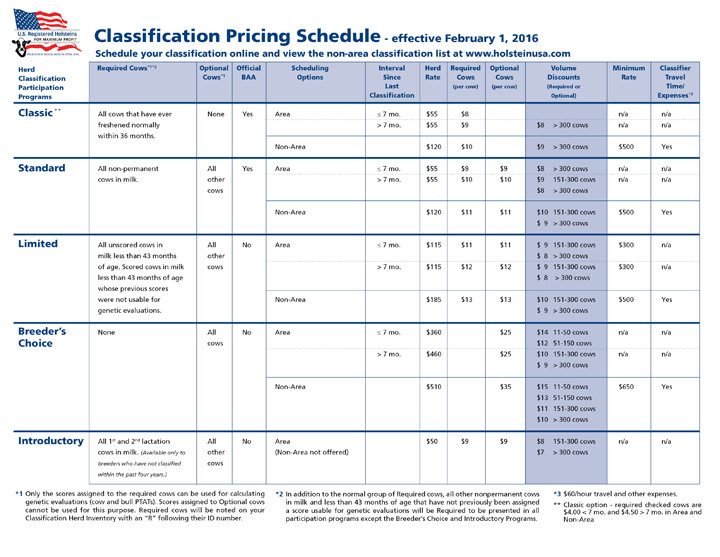 Classification Pricing Schedule